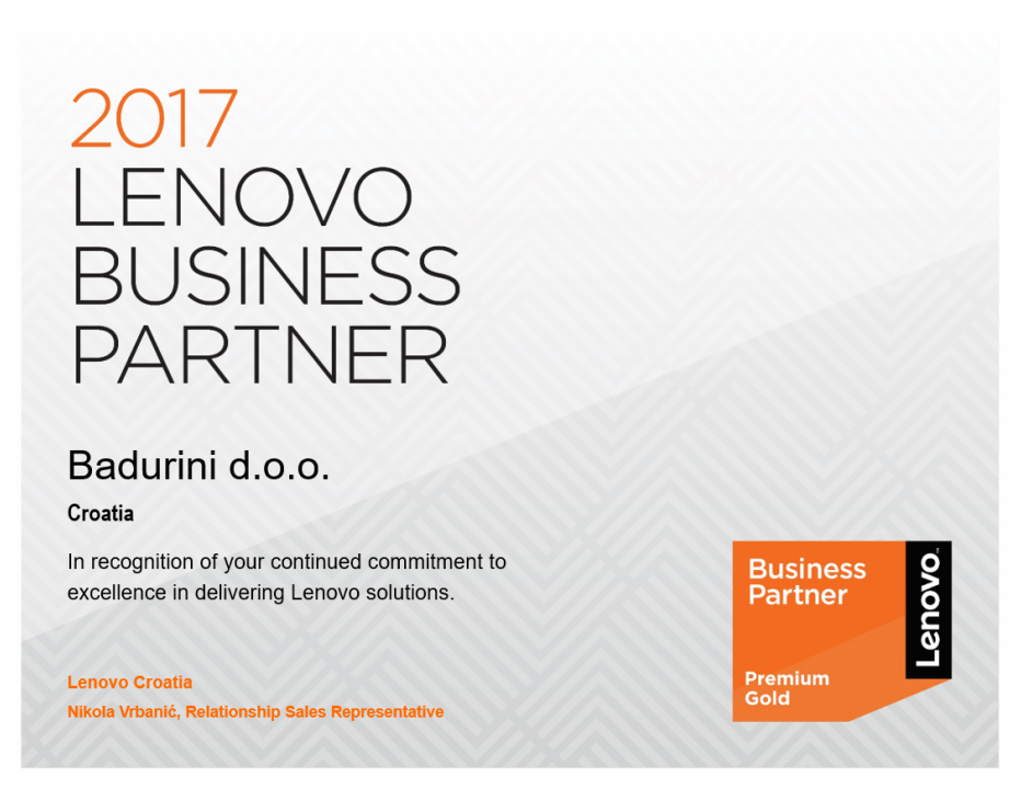Lenovo Premium Gold Business Partner 2017!