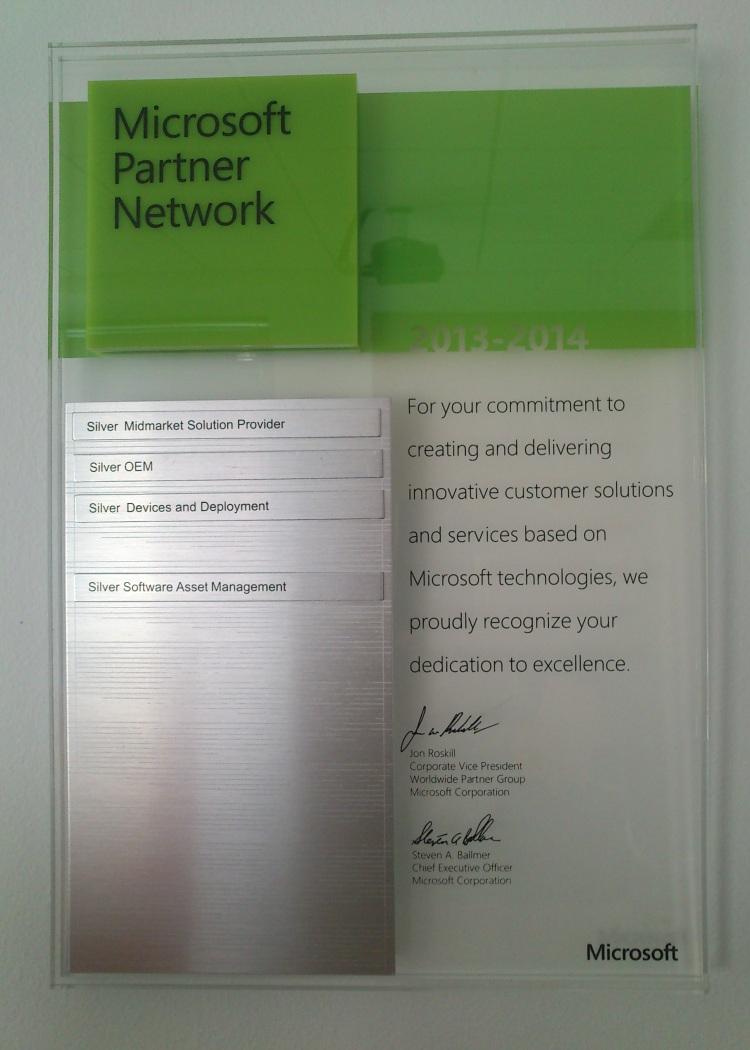 Microsoft Silver Partner 2014!