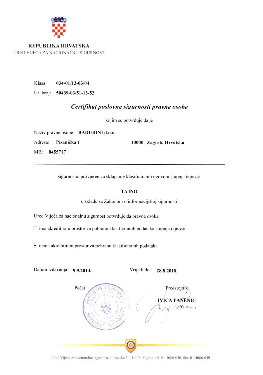 Certifikat poslovne sigurnosti pravne osobe!
