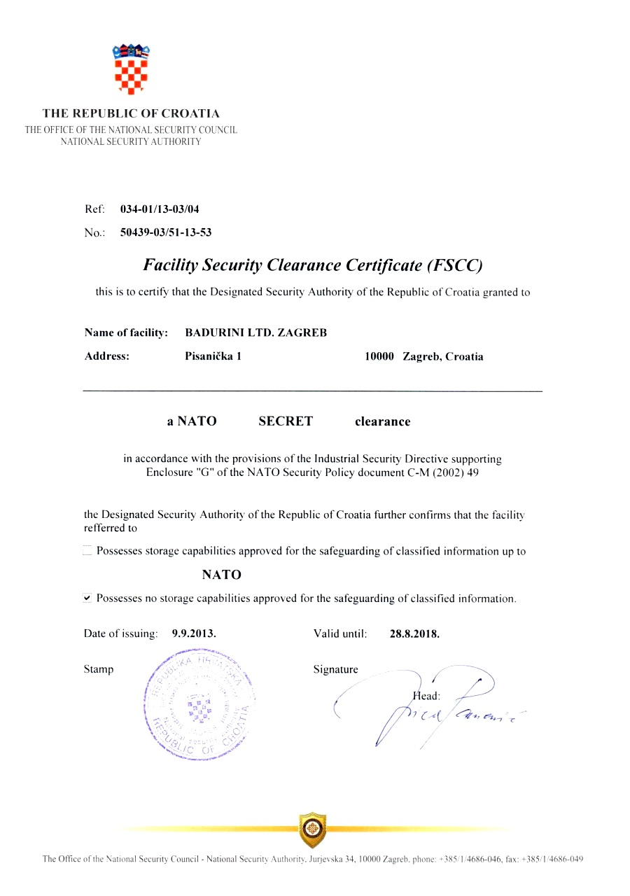 Facility Security Clearance Certificate (FSCC)!